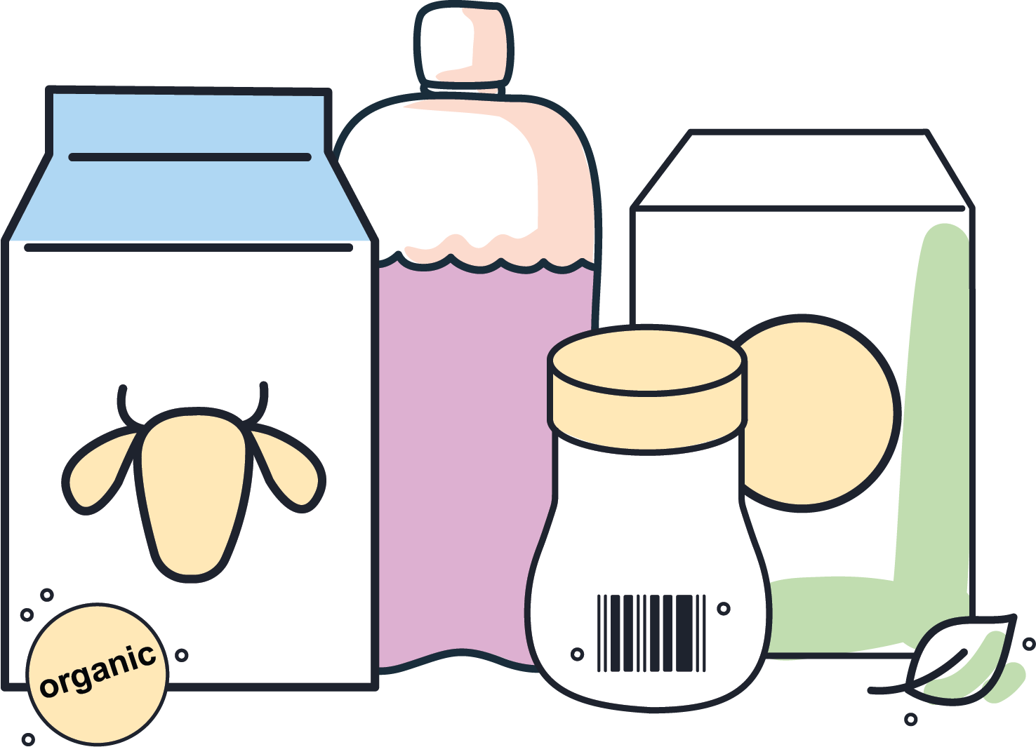 Illustration of different packaged goods
