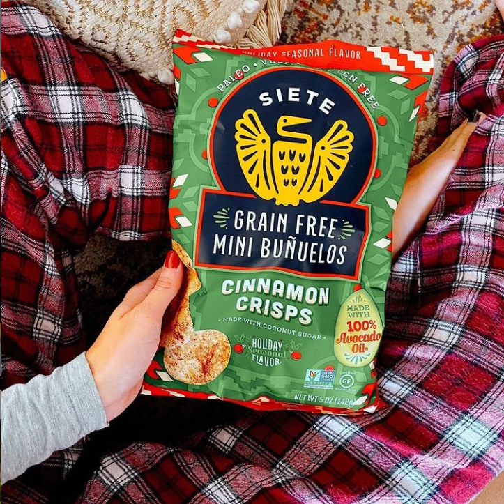 photo of a bag of Siete cinnamon flavored chips as part of their seasonal items
