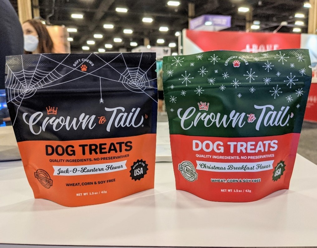 brand product image of fall and christmas seasonal dog treats from Crowns to Tail